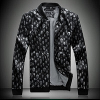 male PU skull leather jacket  black/white slim long sleeve outwear 4XL/5XL