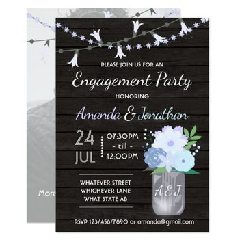 Rustic backyard mason jar engagement add photo card