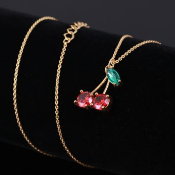 Kate Spade Fashion New Zircon Cherry Pendant Personality Necklace Women
