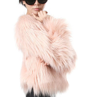 RTBU Punk Rock Runway Chic Vegan Shaggy Long Faux Fur Furry Gorilla Jacket Coat