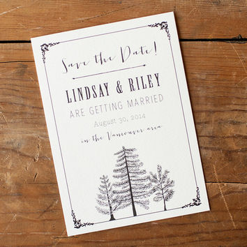 Rustic Save the Date, Save the Date postcard - The Larch - birchbark, rustic wedding, save the date card, trees, eco, birch, woodland