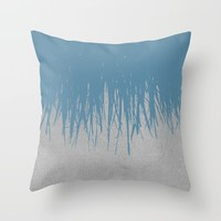Concrete Fringe Blue Throw Pillow by Project M