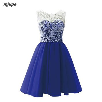 real photo lace prom dresses sleeveless short chiffon prom gowns customized plus size gowns for women