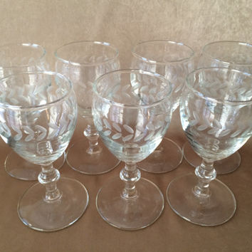 Etched Wine Glasses, Sherry or Cordial, Small Stemmed Glass, Bamboo Stems, Petite Barware, Mid Century Bar,  Liquor Glasses, Quality Etching