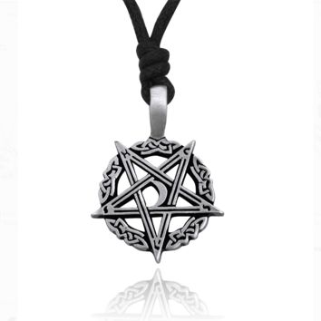 Beautiful Celtic Pentagram Star Silver Pewter Charm Necklace Pendant Jewelry With Cotton Cord