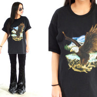 Vintage 90s EAGLE Animal Black Graphic T Shirt Tee // Biker Hipster Grunge // Small / Medium / Large