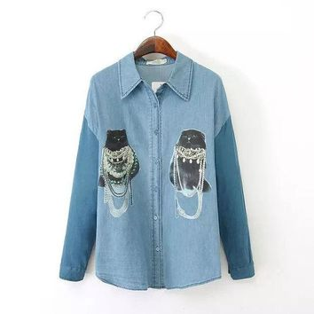 PEAPIX3 Women's Fashion Rinsed Denim Print Long Sleeve Denim Blouse Mosaic Cats Shirt Bottoming Shirt [4918987652]