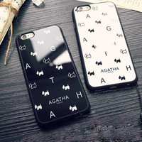 Cute white and black dog couple mobile phone case for iPhone 7 7 plus iphone 5 5s SE 6 6s 6plus 6s plus + Nice gift box!