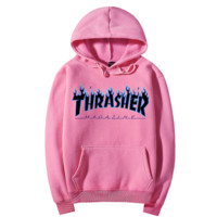 """Thrasher""Quality hooded sweater flame slide hip sweater Pink"