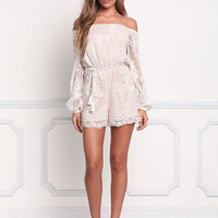 Cream Sequin Tulle Off Shoulder Romper
