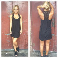 Black Crochet T-Back Dress