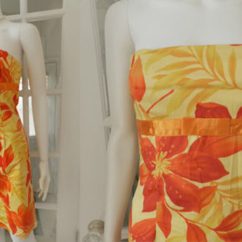 Vintage Strapless  Summer Dress / 1980's Hawaiian Floral Sundress / Alyn Paige Beach Wiggle Dress, Size 4/Small