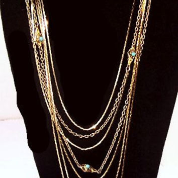 Monet Gold Chain Necklaces 6 Strands Blue Beads 56 in & 34 in Long Vintage