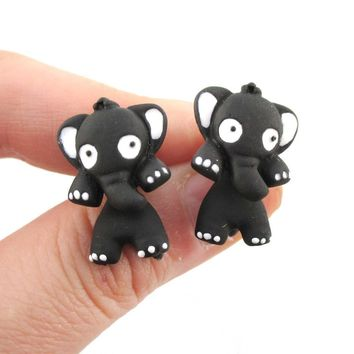 Elephant Shaped Two Part Front and Back Stud Earrings in Black and White