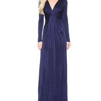 Dark Blue Surplice Long Sleeve Maxi Dress