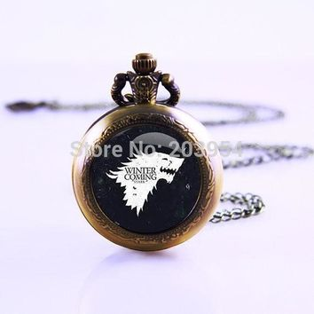 American TV Series Game of Thrones Inspired 12pcs Movie Thrones Necklace Video Pocket Watch Necklace Watch Necklace Gift Watch