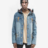 Vintage Wash Denim Jacket w/ Genuine Leather