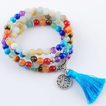 7 Chakra Natural Amazon Stone Bracelets 6mm Tibetan Raw Prayer Mala Bead Meditation Reiki Healing Yoga Balance Jewelry PK3207