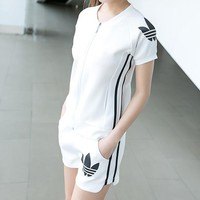 """Adidas"" Women Fashion Casual  Print Short Sleeve Shorts Set Two-Piece Sportswear"
