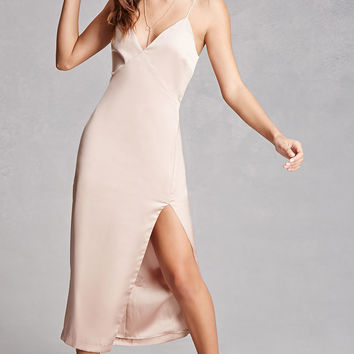 High-Slit Satin Cami Dress