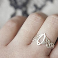 Lingerie Ring 002  Sterling Silver  Hand Cut by gemagenta on Etsy