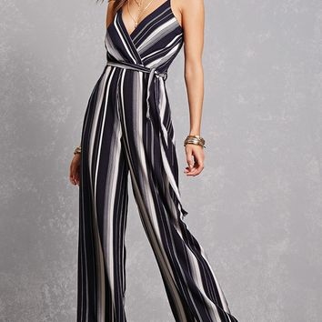 Belted Striped Palazzo Jumpsuit