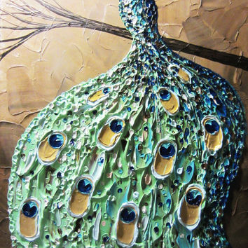 """CUSTOM Abstract Painting Peacock Textured Contemporary Impasto Art Palette Knife Blue Green Gold MADE to ORDER xl to 40"""" -Christine Krainock"""