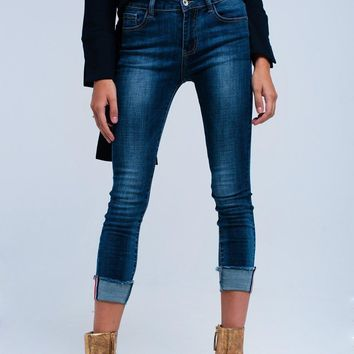Rolled Cuff Skinny Jeans
