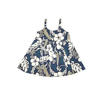 KY's Blue with White Hibiscus and Grey Palm Trees Girls Aloha Dress