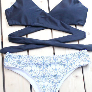 e8a14470ca500 Floralkini Navy Blue Wrap Halter Top X Paisley Print Bottom Biki