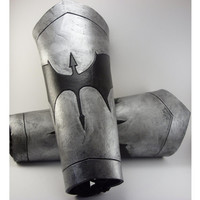 Silver Vambraces with Black Dragon carved in Leather Armor 8oz bracers for LARP SCA or Ren Faire Costume