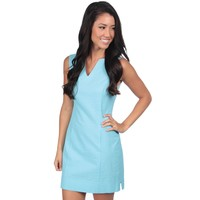 The Avery Solid Seersucker Dress in Powder Blue by Lauren James