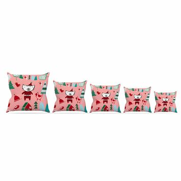 "bruxamagica ""Cute Santa Cat Pink"" Pink Red Animals Holiday Illustration Throw Pillow"