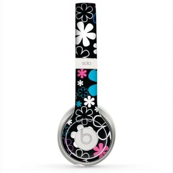 The Vibrant Pink & Blue Vector Floral Skin for the Beats by Dre Solo 2 Headphones