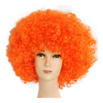 Fashion Afro Cosplay Curly Clown Party 70s Disco Cosplay Wig Cheering Squad Clown   orange