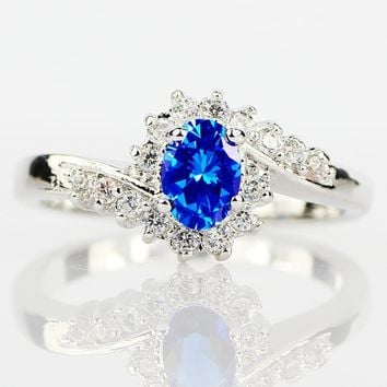 Exquisite 925 Sterling Silver Natural Sapphire Gemstones Opal Birthstone Bride Princess Wedding Engagement Strange Ring Size 6 7