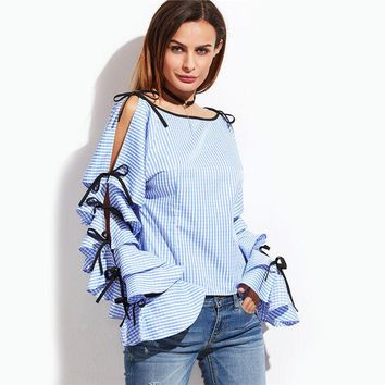 VONC1Y SheIn Spring 2017 Women Clothing Women Blouse New Fashion Boat Neck Blue Striped Bow Tie Split Ruffle Long Sleeve Blouse