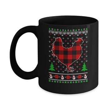 Funny Holiday Chicken Red Plaid Ugly Christmas Sweater Mug