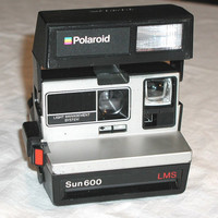 Polaroid Sun 600 LMS - Film Tested - Vintage Instant Camera and Neck Strap
