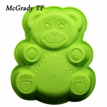 Bear Shape Silicone Mold For Mousses Ice Cream Maker 3D Silicone Cake Mold Tray Pan Decorating Bakeware Accessories Baking Tools