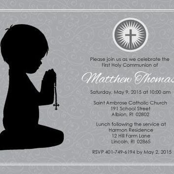 Boy Kneeling First Communion Invitation