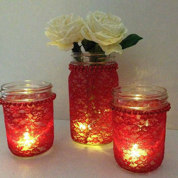 red 3 peace lace coverd candle holder and vase mason jars, gift, wedding decor FREE CANDLE