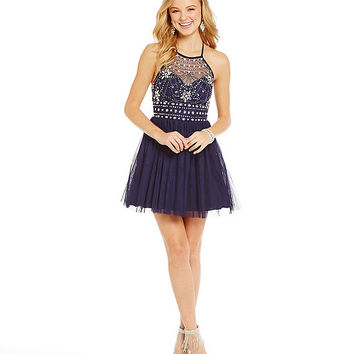 B. Darlin Beaded Illusion Bodice Party Dress | Dillards