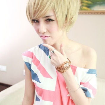 Cool Fashion Women Girls Short Hairpiece Beige Wigs (Color: Beige) = 1842796996