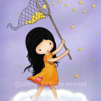 Kids Art Print, child wall art, kids poster, nursery decor, original illustration reproduction, Girl catching stars purple room art