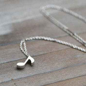 Sterling plated Music note Necklace