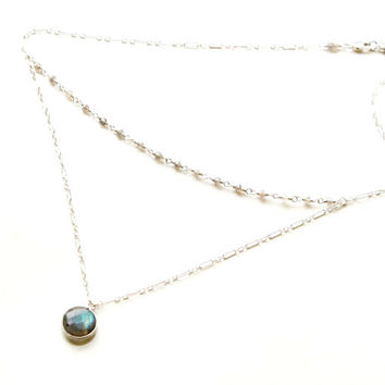 Double strand Labradorite and sterling silver necklace. Modern multi strand necklace. Jewelry summer trends. Graduation gift. Power stones.