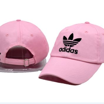 Pink Adidas Logo Embroidered Cotton Baseball Golf Sports Cap Hats