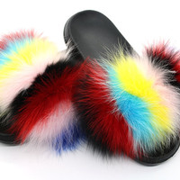 Meena colorway fox fur slides