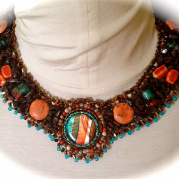 Bead Embroidered Collar,  Necklace, Orange, Aqua, Brown, Lampwork Beads,